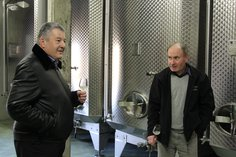 Eric Marchand and Anthony in Dec 2016, tasting the recent harvest