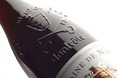 The characteristic embossed bottles of Châteauneuf-du-Pape