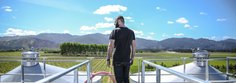 Andrew, above the new winemaking tanks