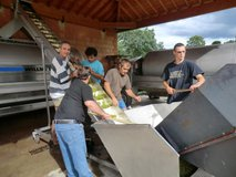 Christophe and team sorting the grapes