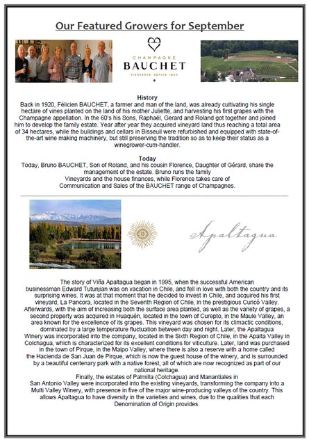 October tastings presented by Florence of Champagne Bauchet